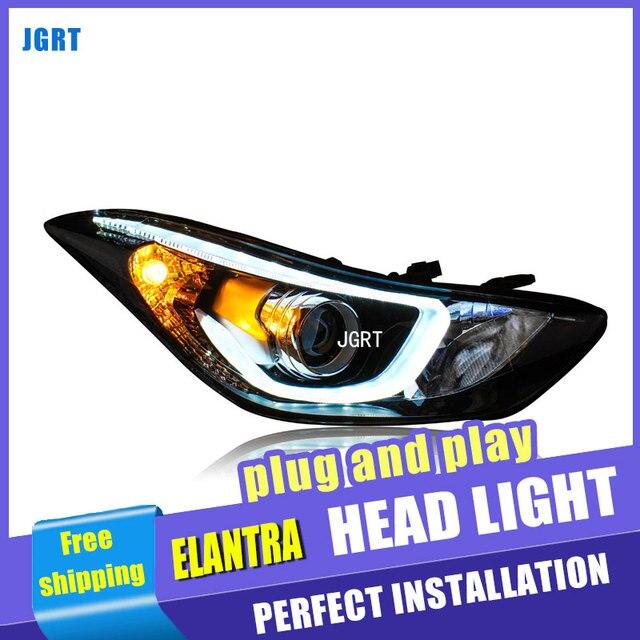 Car Styling For hyundai Elantra headlights 2009-15 For Elantra LED head lamp Angel eye led DRL front light Bi-Xenon Lens