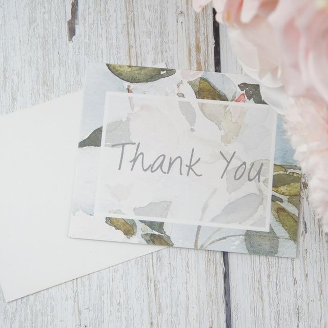 Multi Use 50pcs Mini Thank You Watercolour Light Blue Flower Message