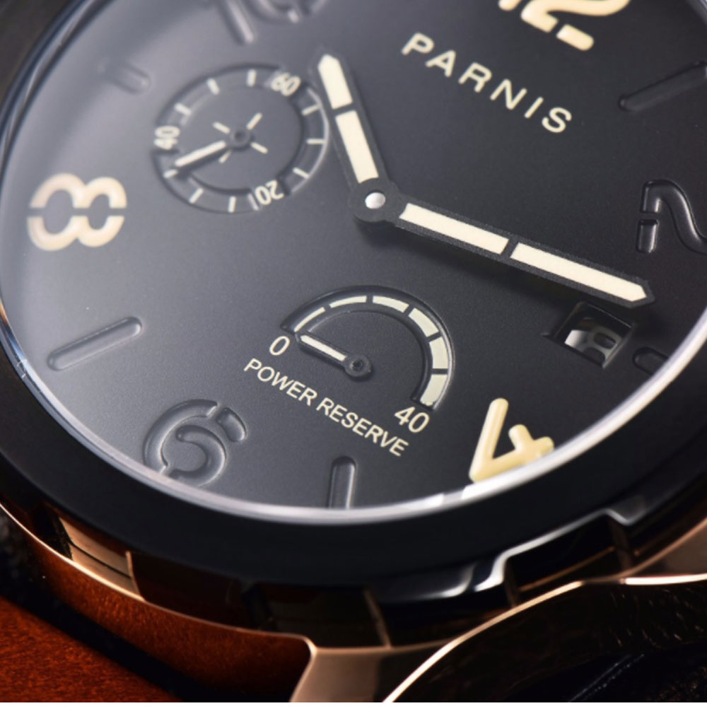 2019 New Automatic Watch Men Parnis Top Brand Luxuury Silver Menchanical Watches 44mm Leather Luminous Date PVD Power Reserve