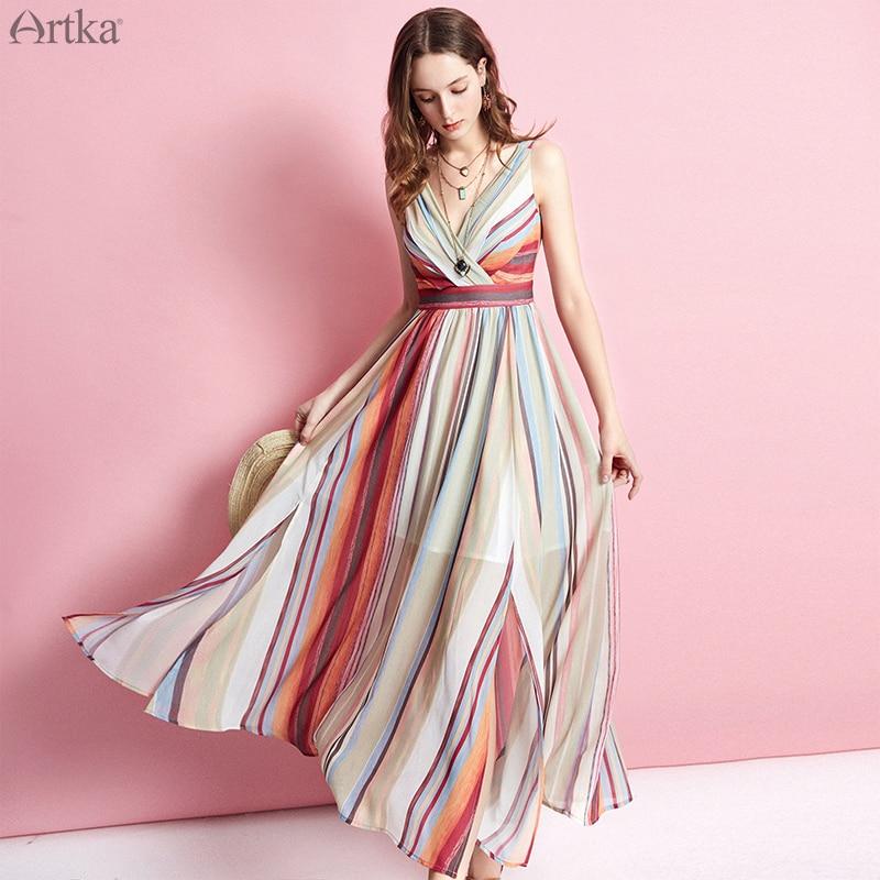 ARTKA 2019 Sommer Frauen Kleider Spaghetti Strap V ausschnitt Gestreiften Kleid Für Frauen Hohe Taille der Dünnen Chiffon Lange Kleid LA11497X-in Kleider aus Damenbekleidung bei  Gruppe 1