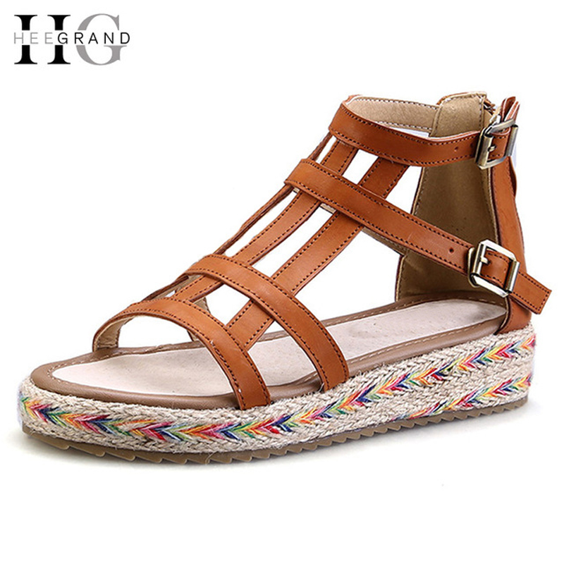 HEE GRAND Summer Style Gladiator Sandals Platform Shoes Woman Slip On Creepers Flats Casual Women Shoes Size 35-44 XWZ2835 timetang 2017 leather gladiator sandals comfort creepers platform casual shoes woman summer style mother women shoes xwd5583