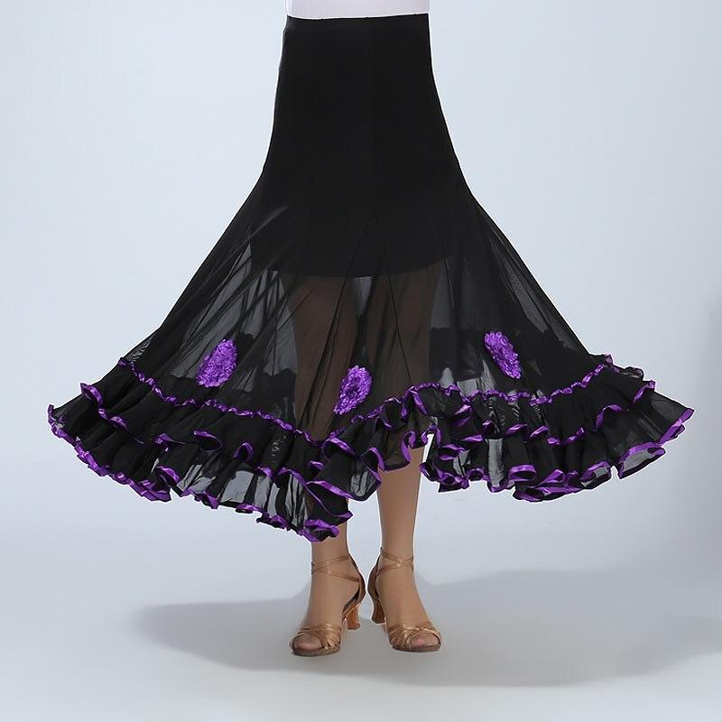 Women Belly Dance Waltz Flamenco Ballroom Dress Competition Outfits Spain Dancer Skirts Long Swing Dance Skirt Holographic (4)