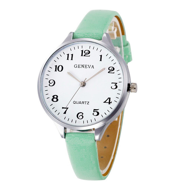 Hot Sale 7 Colors Women Bracelet Watch Famous brand Ladies Faux Leather Analog Q