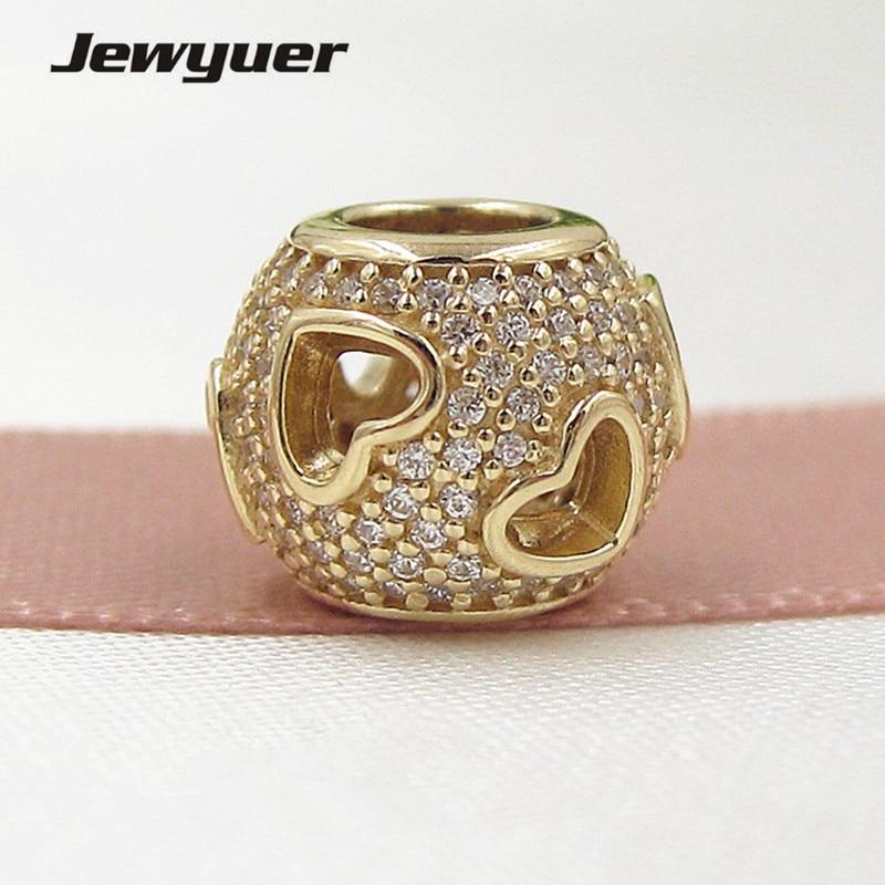 Tumbling Coeurs Charmes 14 k solide or amour perles Fit 925 sterling argent bracelets BRICOLAGE pour femmes Memnon gros GD081