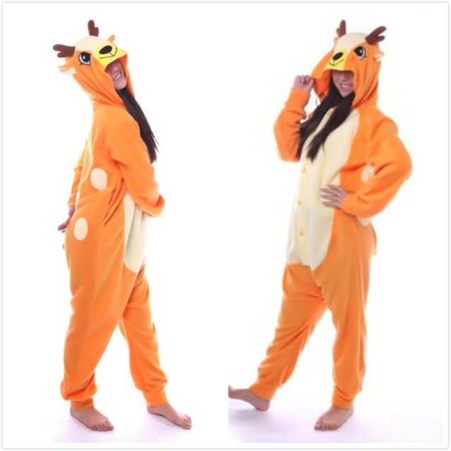 127ef4cc198b Animal Deer Onesie Adult Women Men Unisex Cosplay Pajamas Jumpsuits  Carnival Plus Size Spring Winter Party Halloween Costume