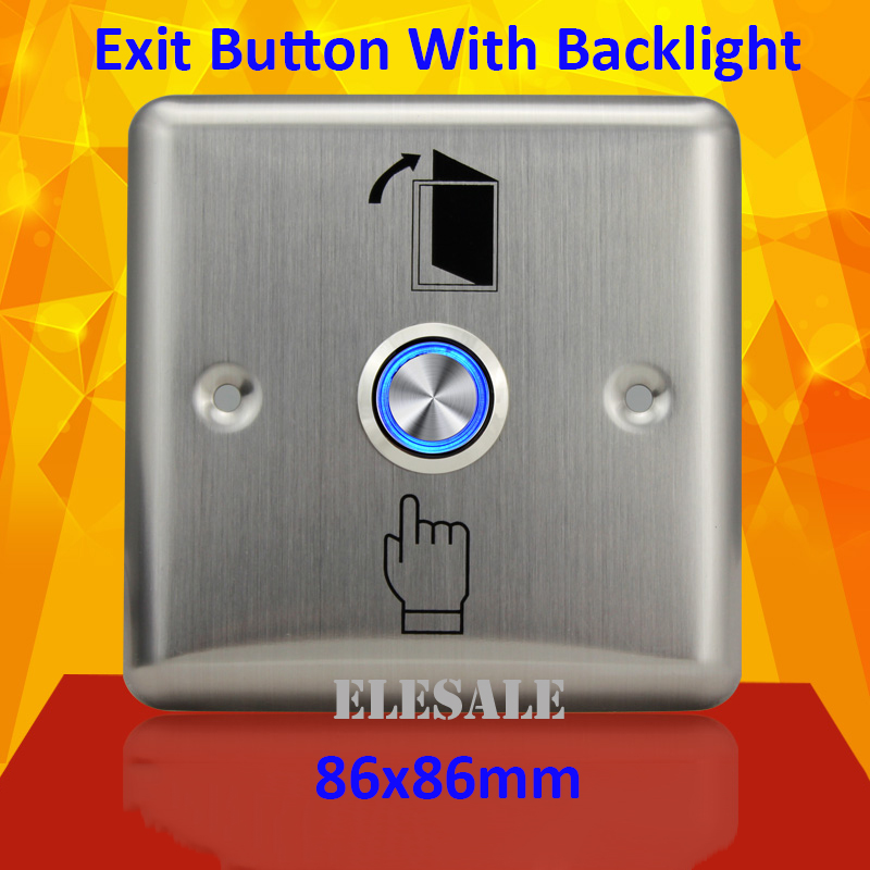 New 86x86mm Exit Button Switch Door Opener Stainless Steel Backlight Led For Electric Lock Access Control Home Office new 86x86mm exit button switch door opener stainless steel backlight led for electric lock access control home office