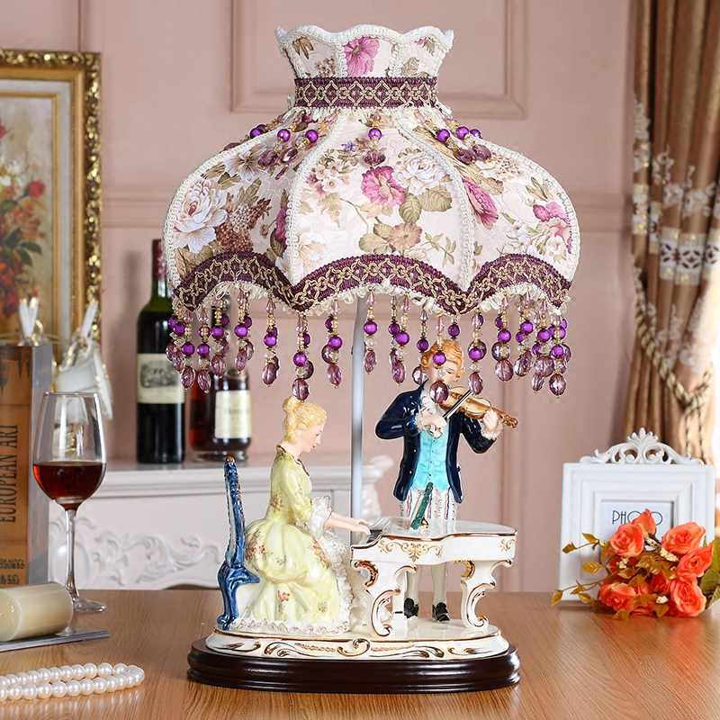 Fashion Ceramic Table Lamps For Bedroom Luxury CeramicTable Lamp Brief Modern A Couple Playing Violin Ceramic Decoration Lamp modern brief fashion ofhead lamps table lamp