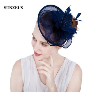 Image 3 - White Wedding Hat for Bridal Feathers Linen Flowers Elegant Womens Party Hats Navy Blue tocados sombreros bodas  SH64