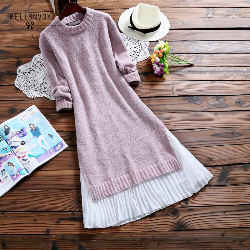 2018 Autumn Winter Women Midi Dresses O neck Knitwear Chiffon Patchwork Sweater Dress Casual Elegant Long Sleeve Vestidos