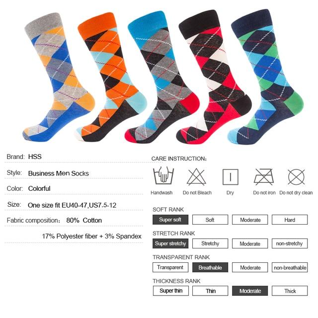 HSS 5 Pairs/lot Men's Funny Socks Colorful Combed Cotton Socks Red Argyle Dozen Pack Casual Happy Socks For Dress Wedding Gift Socks