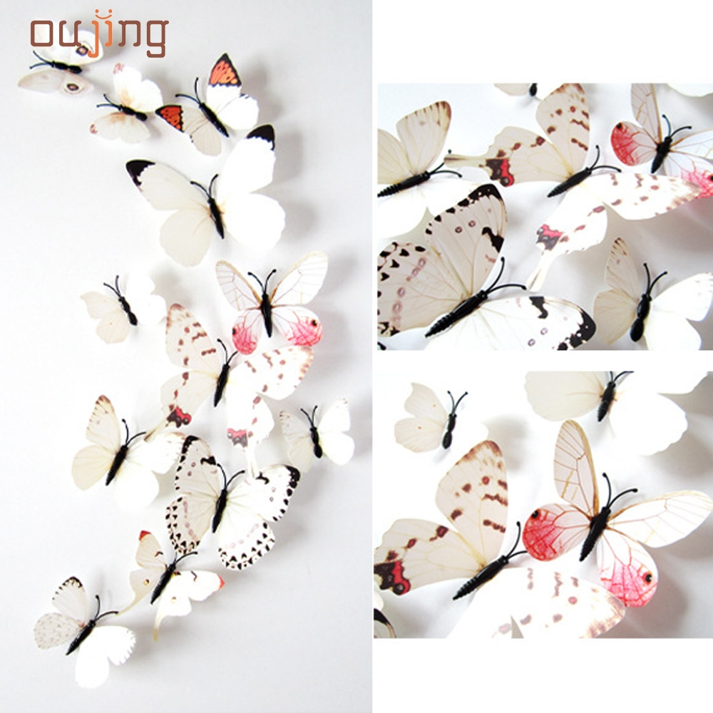 12pcs Sticker Art Design Decal Wall Stickers Home Decorations 3D Butterfly White Free Shipping Sep13