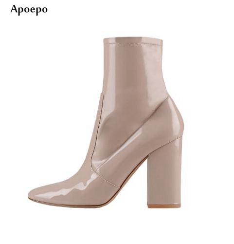 Apoepo Woman Thick Heels Nude Patent Leather Ankle Boots 2018 Pointed Toe High Heel Riding Boots Black Suede Riding Boots new arrival superstar genuine leather chelsea boots women round toe solid thick heel runway model nude zipper mid calf boots l63