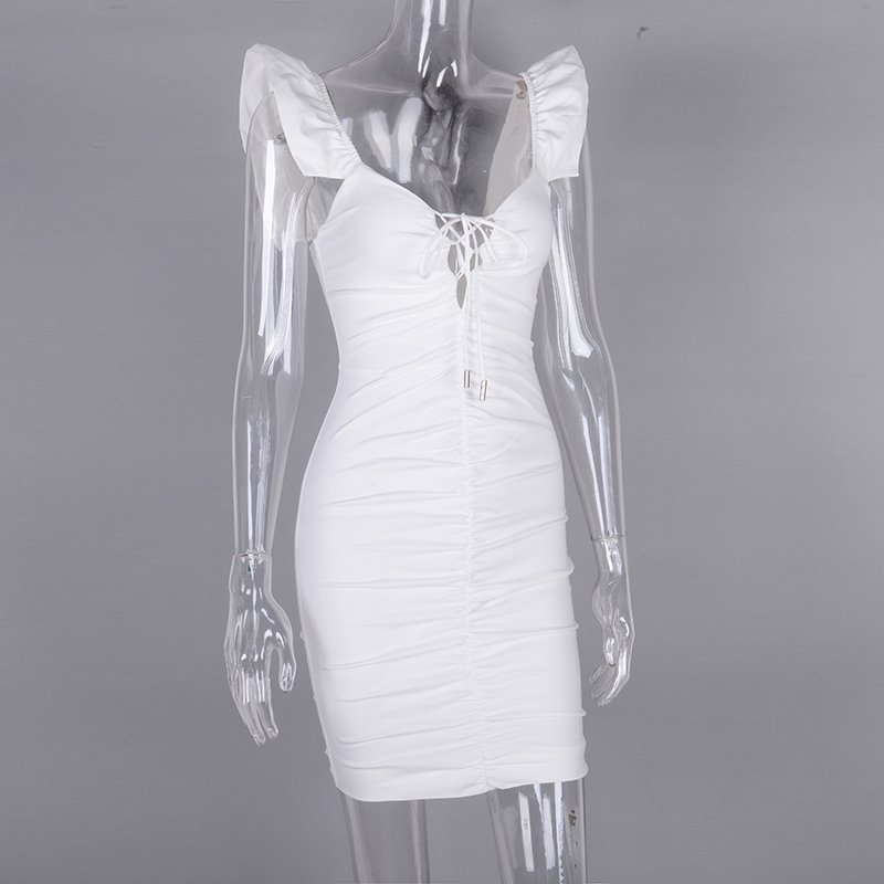 Image 5 - NewAsia 2019 White Summer Dress Women Butterfly Sleeve Deep V neck Cut Out Lace Up Ruched Sexy Dress Mini Elastic Bodycon Dress-in Dresses from Women's Clothing