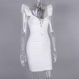 Image 5 - Женское мини платье с рюшами NewAsia, белое эластичное облегающее платье с рукавом бабочкой и глубоким v образным вырезом, на шнуровке, лето 2019
