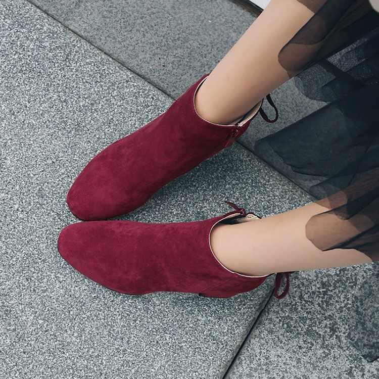 Büyük Boy 11 12 13 14 15 bayanlar yüksek topuklu kadın ayakkabı kadın pompaları Süet yuvarlak kafa yan fermuar yay kare topuk tek ayakkabı