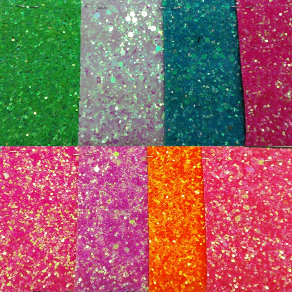90x134cm Synthetic Leather Chunky Glitter fluorescence Glitter PU Leather Fabric Sewing Fabric Fabric for DIY Fabirc