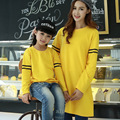 Cartoon Autumn Cotton Family Clothing T-shirt Sweatshirts for Mom & Daughter Family Matching Clothing Family Set Yellow HP57