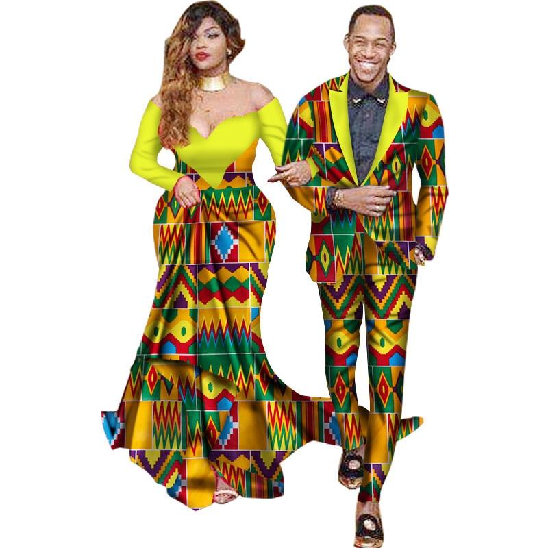 Комплект из двух предметов в африканском стиле Dashiki печати Пара Костюмы для любителей Для мужчин костюм плюс Для женщин вечерние Макси плат