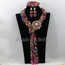 Multicolor Sueltas Strands Collar de Perlas Para Las Mujeres de La Boda de Nigeria Africano ABK129 Cristal Joyería Nupcial Fija El Envío Libre