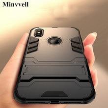 Lüks Standı Zırh telefon tutucu iphone için kılıf 78 6 6 S Artı X XS XS max Hibrid TPU + Sabit PC Darbeye kapak için iphone 5 5 ...