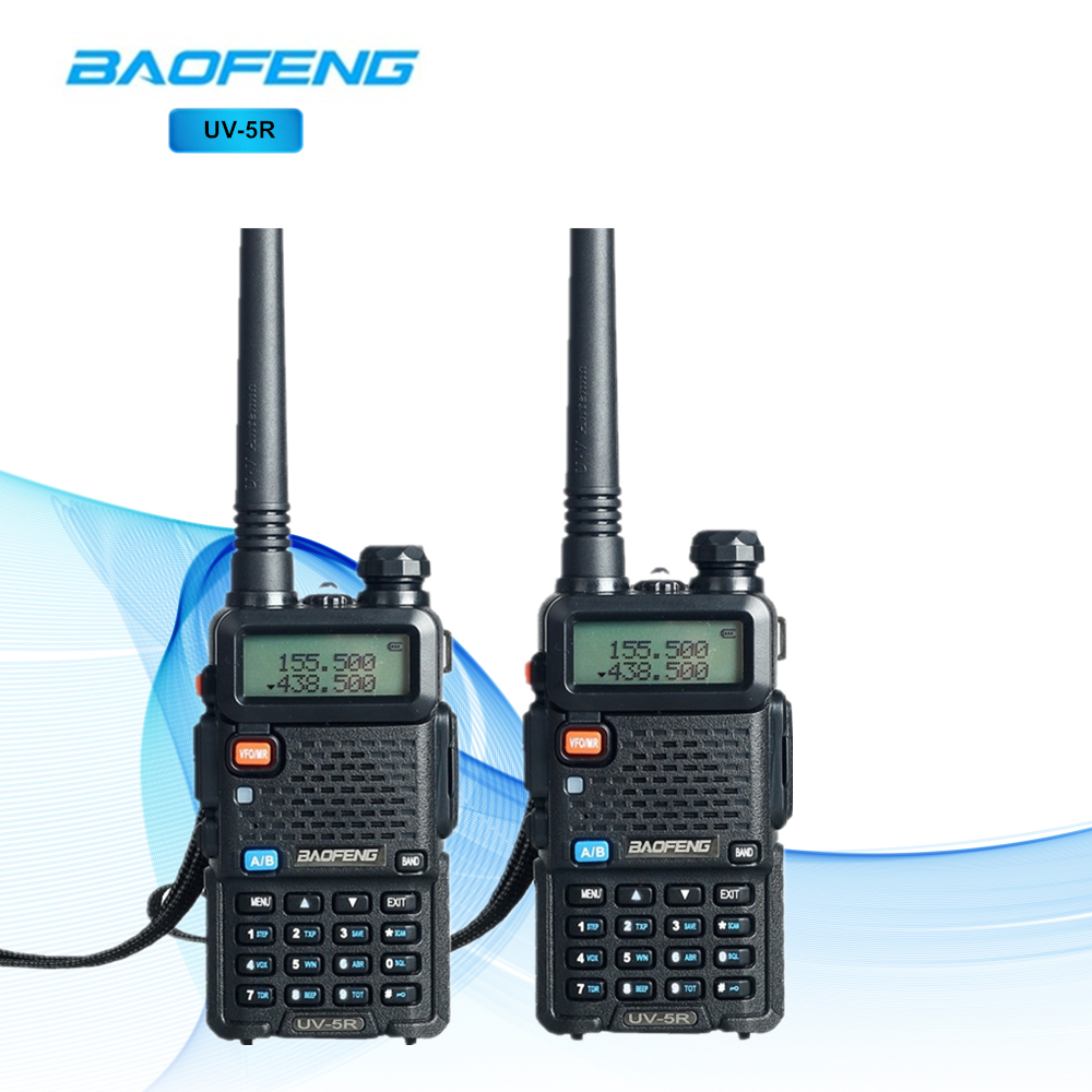 2 pcs BaoFeng UV-5R Talkie Walkie Deux-Way Radio Dual Band Baofeng UV 5R Portable CB Talkie walkie UV5R talkie-walkie lampe de Poche