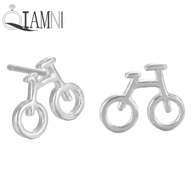 QIAMNI 925 Sterling Silver Bicycle Piercing Studs Earrings for Women Girl Costume Jewelry Christmas Party Gift  Wholesale