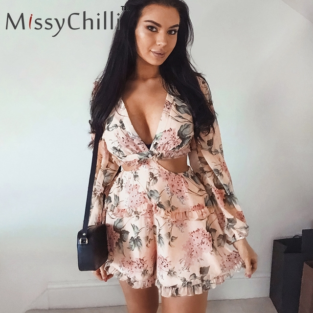MissyChilli Sexy v neck backless summer playsuit Women chiffion beach short jumpsuit Elegant pink ruffle party romper overalls 3