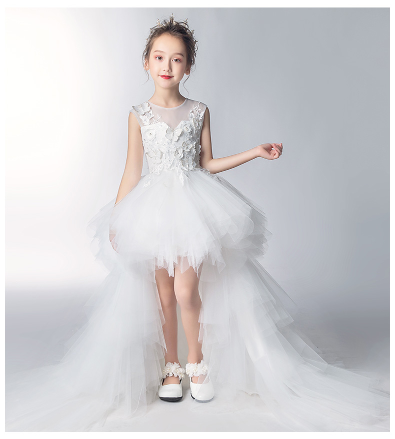 Long Trailing White Lace   Flower     Girl     Dress   For Birthday Party Wedding Appliques Tulle Ball Gown for Formal First Communion   Dress