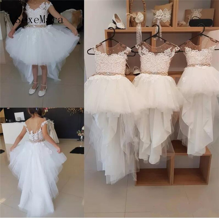 Real Picture New Flower Girls Dresses With Lace Appliques Cap Sleeve Beads Sash Sheer Neckline Girl Pageant Dress Birthday Gown цена 2017