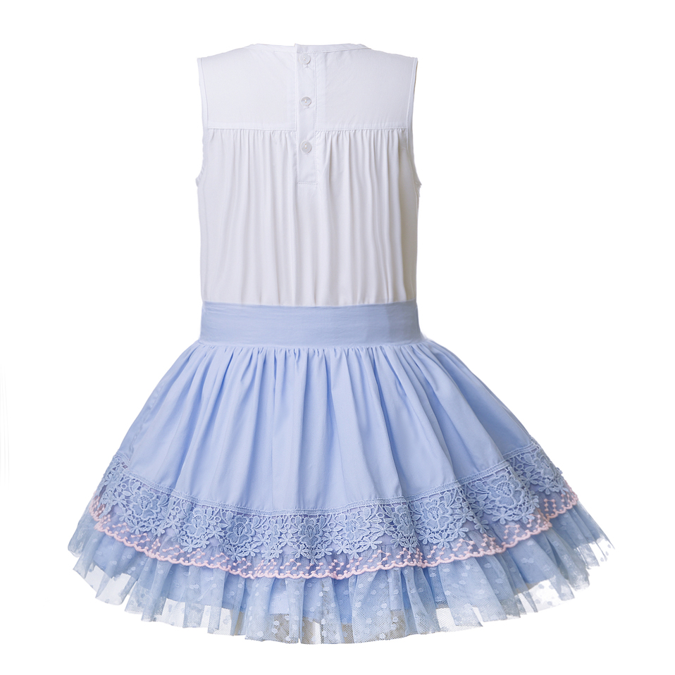 Pettigirl Summer Lace Girls Clothing Set With Headwear Sleeveless Top + Blue Skirt Children Boutique Suits G-DMCS105-B273