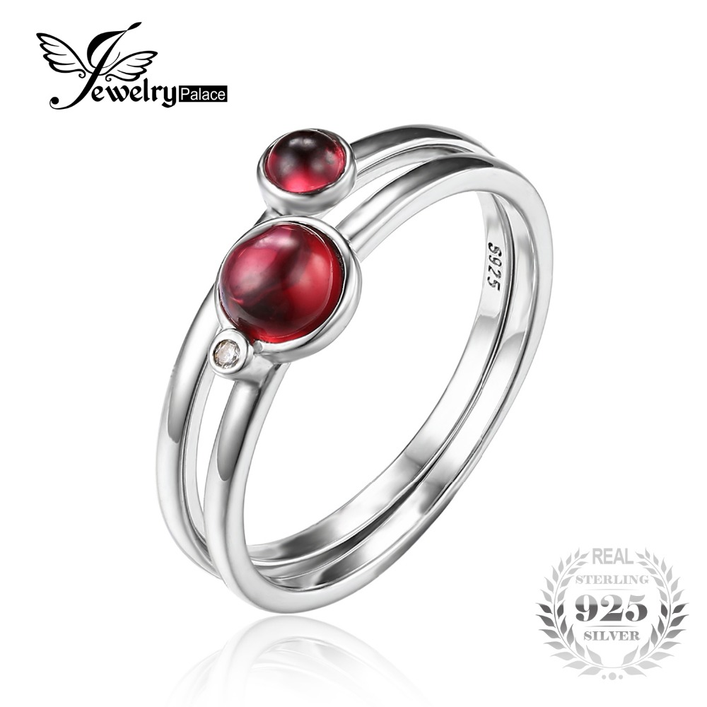 JewelryPalace 0 8ct Fuchsia Genuine Garnet Band Stackable font b Ring b font Sets 925 Sterling