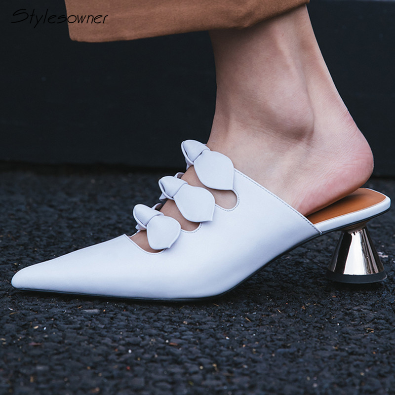 Stylesowner Covered Pointed Toe Genuine Leather Mules Shoes Elegant Knot Strange Med Heels Office Lady Pumps 2018 New Chic Shoes