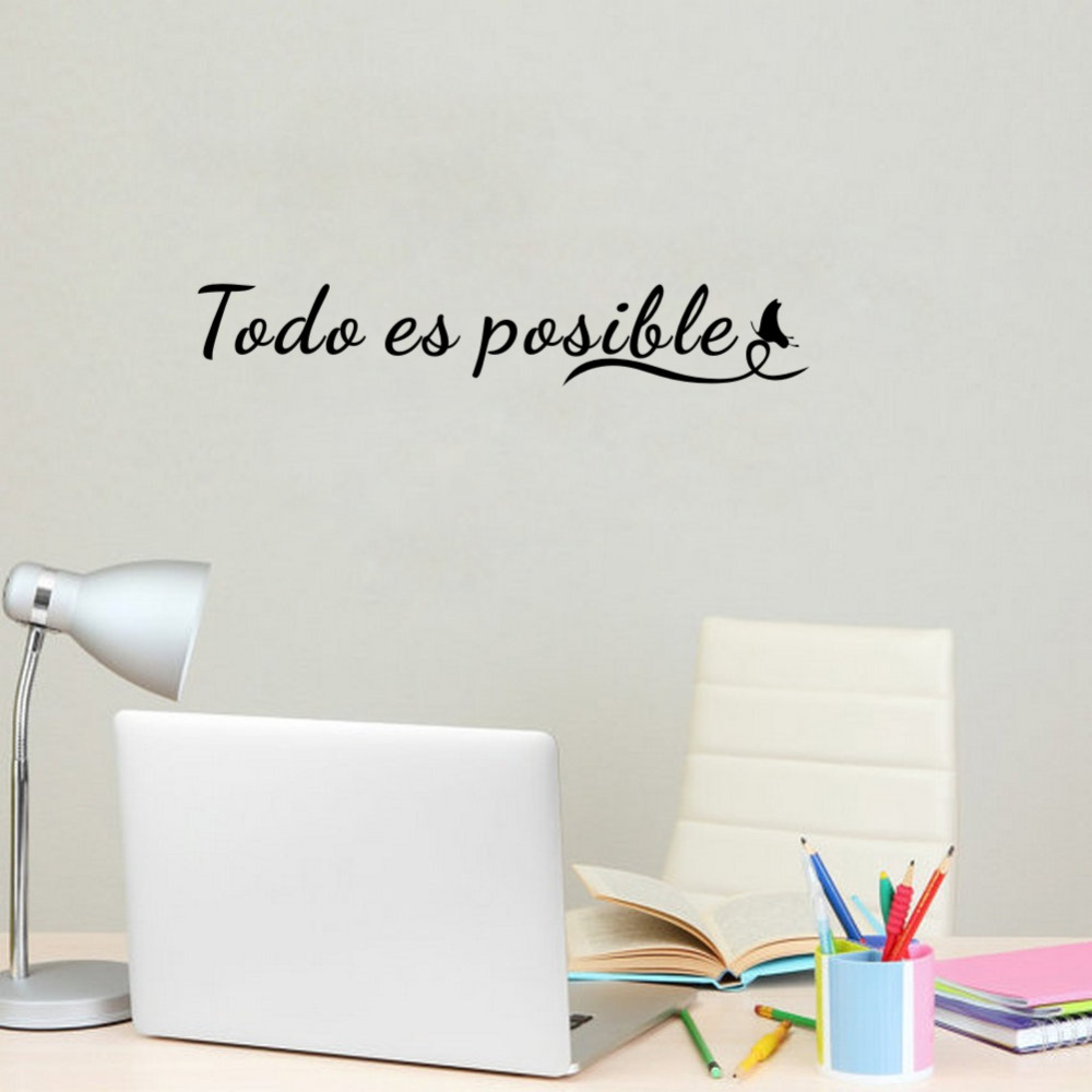 Everything is Possible Spanish Motivational Quote Removable Vinyl Wall Art Sticker Home Office Wall Decoration