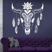 Deer Head Wall Decal American Indian Feather lotus Vinyl Wall Sticker Home Decor Removable Sticker Animal muurstickers M612