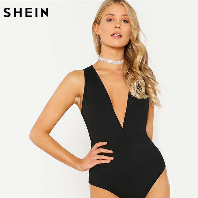 78d1dad2b7 SHEIN Body Suits for Women Plunge Neck Solid Bodysuit 2018 Women Summer  Black Deep V Neck