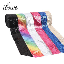 IBOWS 2y/lot 3 75mm Sequin Ribbon Colorful DIY Hair Bows Materials Wedding Party Decoration Handmade Craft Accessories