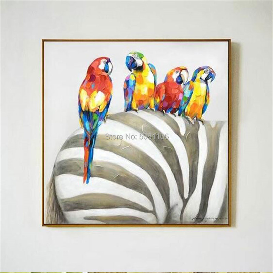 Hot sale morden 100 Handmade oil Painting Rio parrot Pictures colorful birds Wall art Decoration zebra picture on Canvas gift in Painting Calligraphy from Home Garden