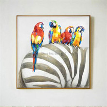 Hot sale morden 100% Handmade oil Painting Rio parrot Pictures colorful birds Wall art Decoration zebra picture on Canvas gift