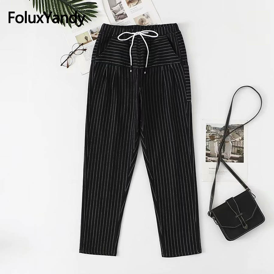 High Waist   Jeans   Women Casual Denim Straight Pants Plus Size 5XL Loose Striped   Jeans   Black KKFY2584