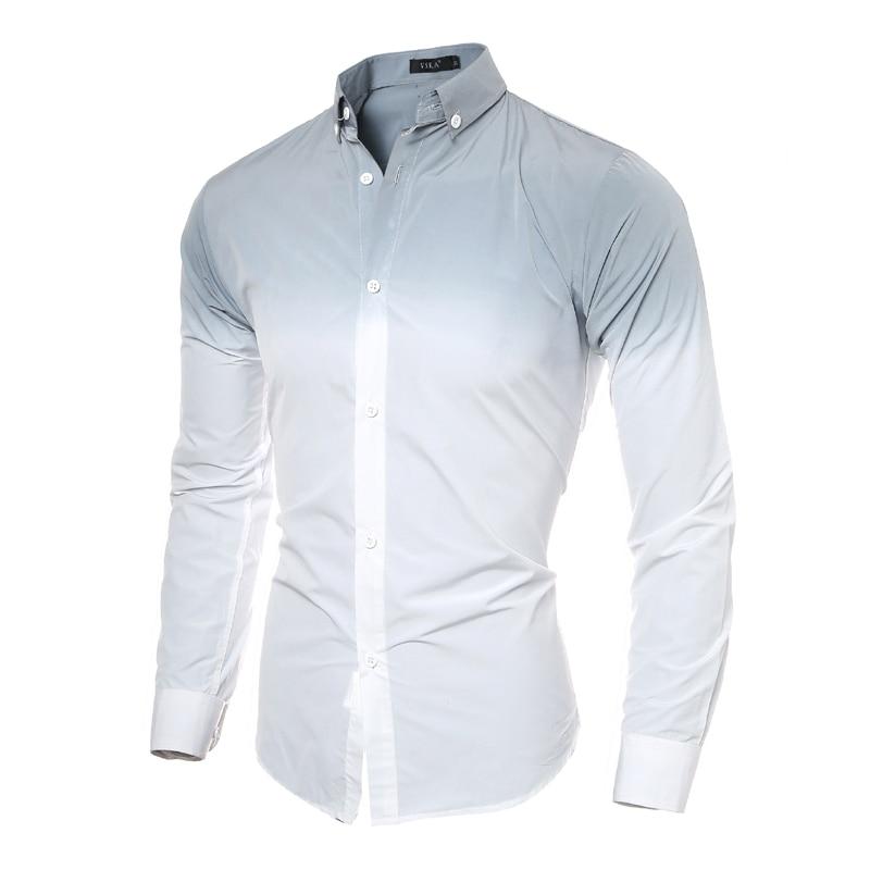 Male Long Sleeve Shirt Solid Print Men White Shirt Men Designer ...