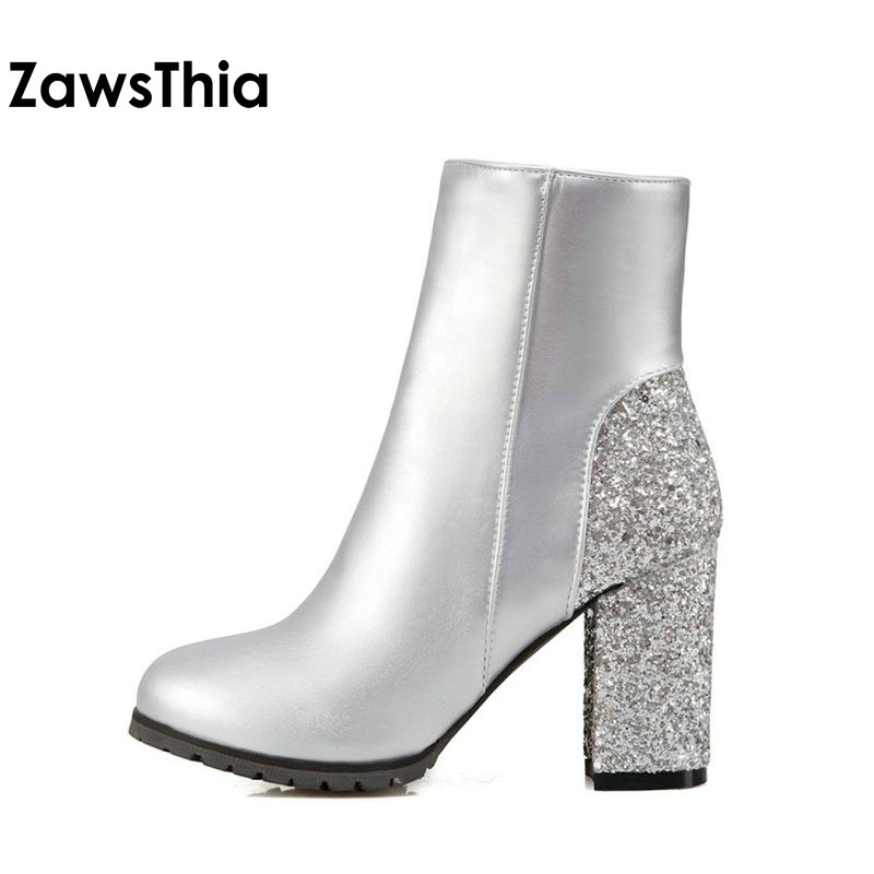 ZawsThia fashion winter golden silver red bling glitter boots block high  heels woman ankle boots warm plush women shoes size 48-in Ankle Boots from  Shoes on ... 3910b764bd3c