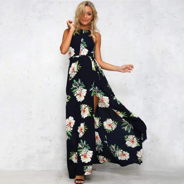 2bd1f73950 Online Shop 2019 Off Shoulder Floral Print Chiffon Long Dress Women White Split  Summer Maxi Dress Sexy Backless Beach Party Dresses Vestidos