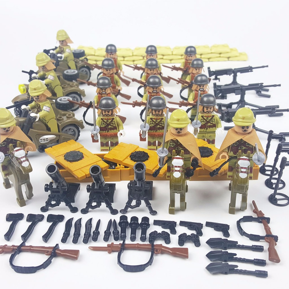 Chinese Army Japanese Army WW2 Campaign Brick Construction Block Military Vehicle Arsenal Compatible with Legoe