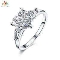Peacock Star Solid 925 Sterling Silver Wedding Engagement Promise Ring 2 Carat Heart Jewelry Created Diamante