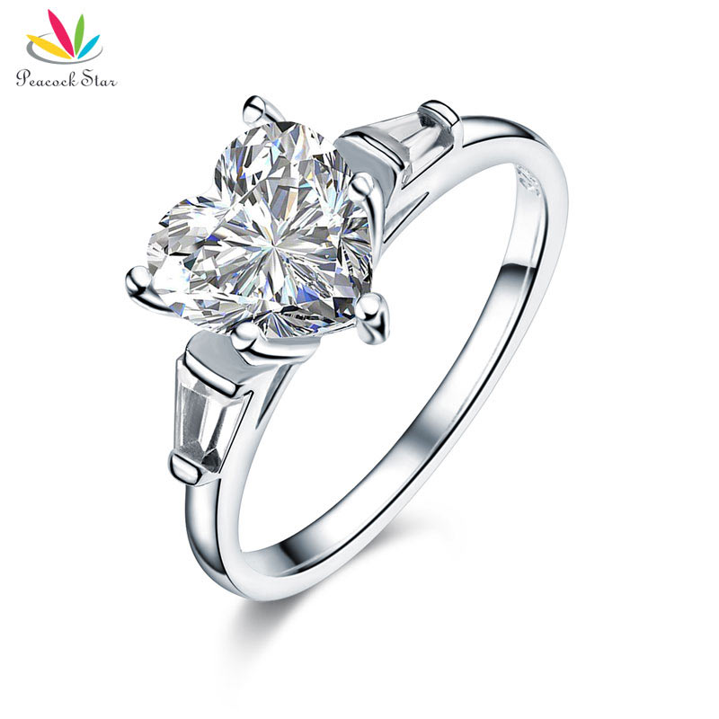 Peacock Star Solid 925 Sterling Silver Wedding Engagement Promise Ring 2 Carat Heart Jewelry Created Diamante CFR8279