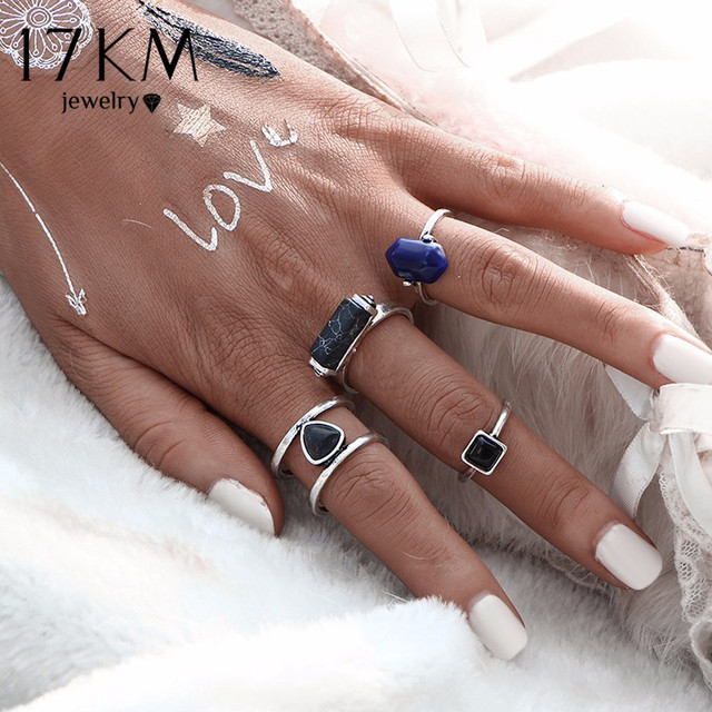 17KM Vintage 4 PCS Ring Set Punk Silver Color Stone Rings For Women/Men Bead Fin