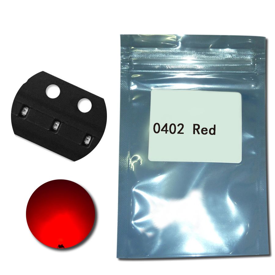 100 шт./лот <font><b>SMD</b></font> <font><b>LED</b></font> <font><b>0402</b></font> (1005) Красный цвет 20mA 2 В <font><b>LED</b></font> светодиод лампы электроники Компоненты