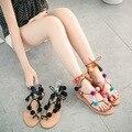 Mulheres Sandálias Rendas Até Calcanhar Plana Gladiador Multicolorido Pom Pom Franja Boho Borla Sola De Borracha Sapatos Sandalias Con Pompones