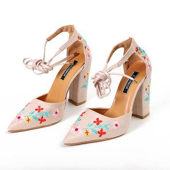 MCCKLE Women High Heels Plus Size Embroidery Pumps Flower Ankle Strap Shoes Female Two Piece Sexy Party Wedding Pointed Toe 2