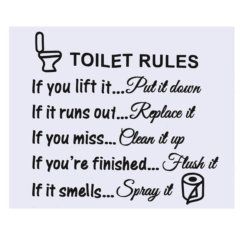 Top Selling DIY Removable Toilet Rules Wall Sticker Vinyl ...